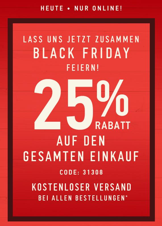 Hollister: 25% auf gesamten Einkauf + kostenloser Versand (nur heute)