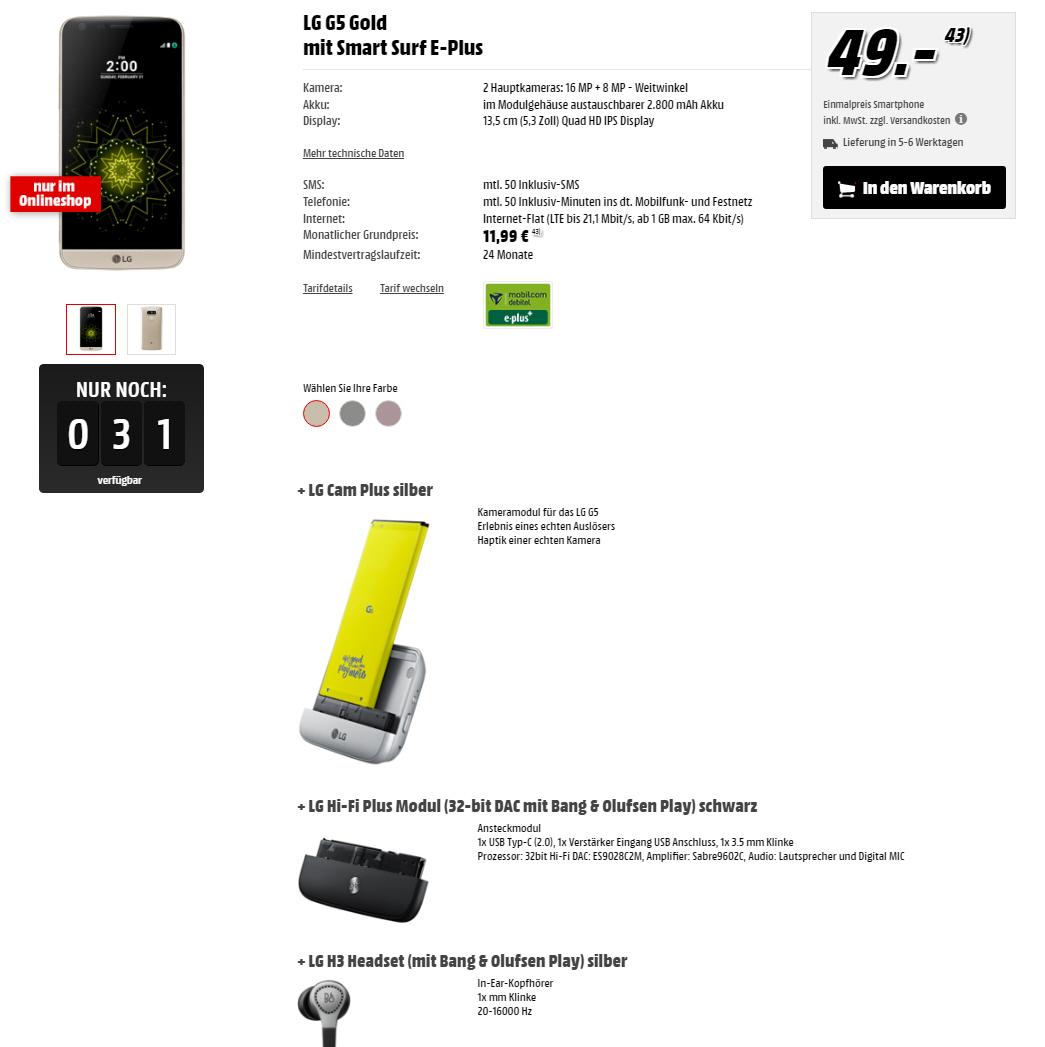 LG G5 + CamPlus + Hifi Plus und LG H3 Headset für 11.99€ Monat