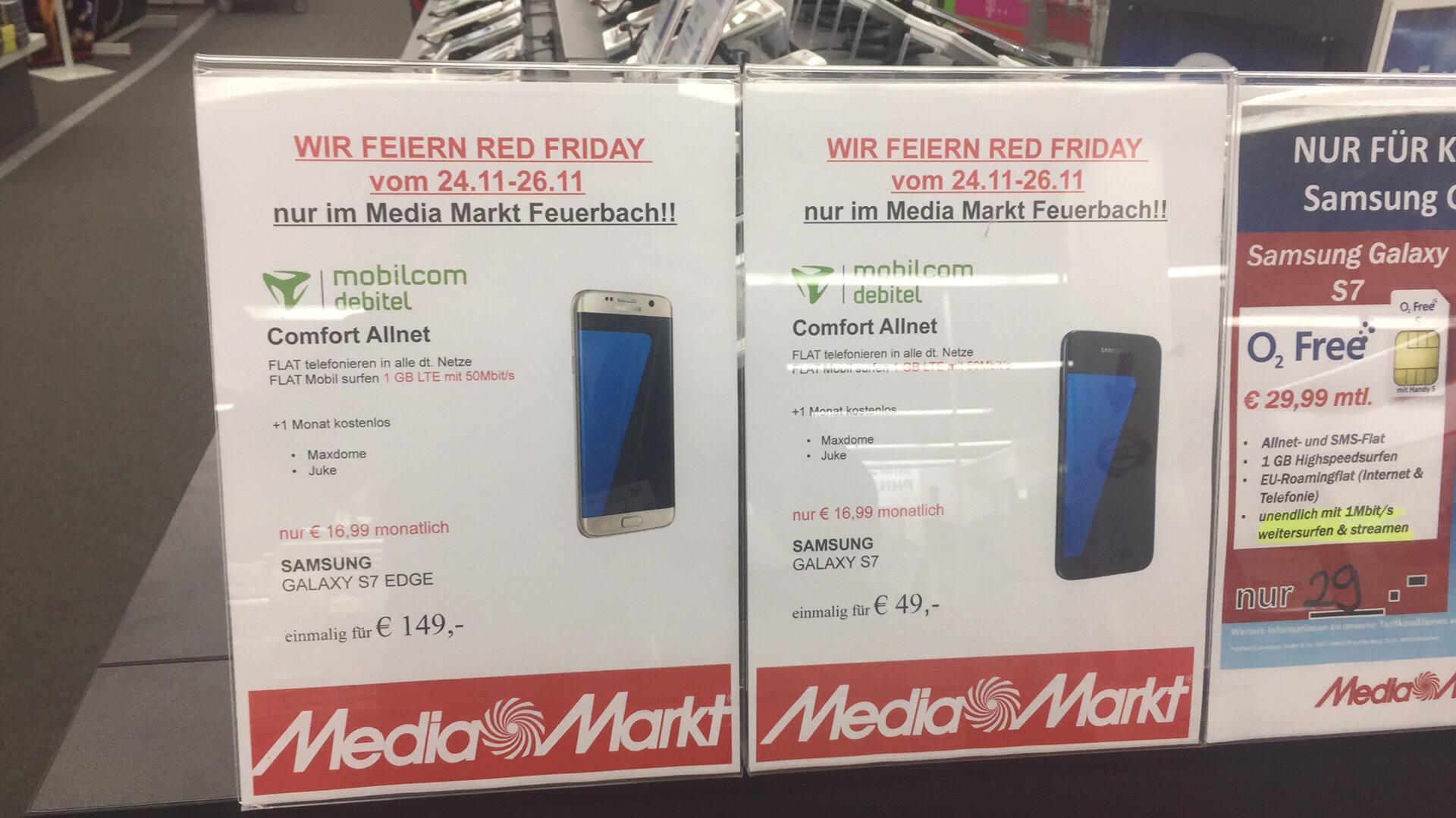 MEDIA MARKT STUTTGART FEUERBACH S7 mit 1GB und Allnet für nur 456,76€ NP 549€
