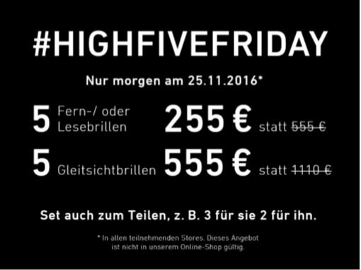 [eyes + more] 5 Fern-/Lesebrillen für 255 €, 5 Gleitsichtbrillen für 555 € - Black Friday