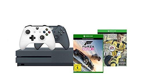 Xbox One S 500GB Konsole (Grau) - FIFA 17, 2 Controller + Forza Horizon 3