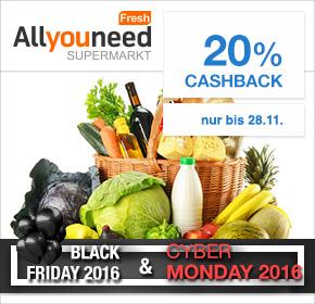 [Allyouneed Fresh] 20% Cashback auf alles* über Shoop (ehemals Qipu) bis zum 28.11