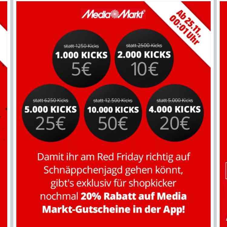 [App] Shopkick 20% auf Media Markt Gutscheine Startschuss des Red Friday's.