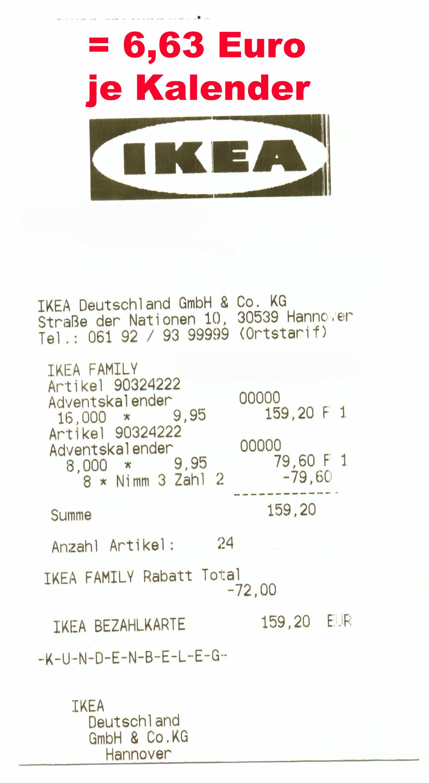 (IKEA Hannover) Adventskalender (incl. mind. 30€ Gutscheinwert) Nimm 3 - Zahl 2 mit Family-Karte für 19,90€ oder 6,63€ je Kalender