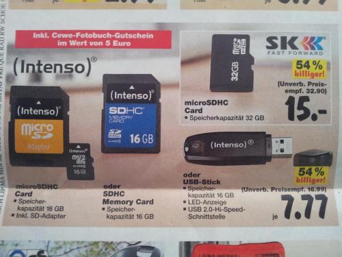 [Kaufland] 32 GB micro SDHC Speicherkarte 15€ oder 16 GB 7,77€ inkl. 5€ Cewe Gutschein
