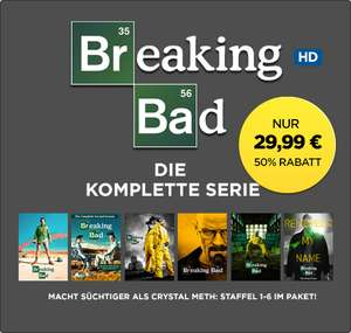 Wuaki Black Friday: »Breaking Bad« Komplettpack digital (HD) für 29,99€ uvm.