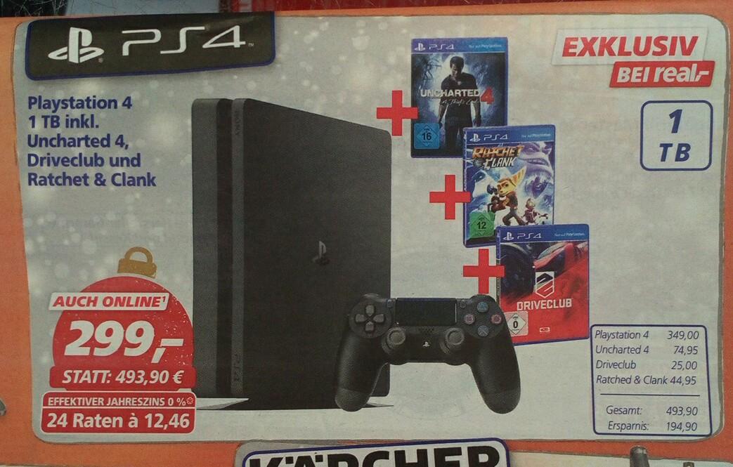 Playstation 4 Slim 1TB + 3 Spiele Real Mülheim event. Bundesweit sogar für 242€
