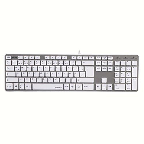 Hama PC Tastatur Rossano im Slim-Design, USB, QWERTZ-Layout, kabelgebunden, weiß/silber für 21,99€ statt 31,95€ [Amazon Angebot des Tages]