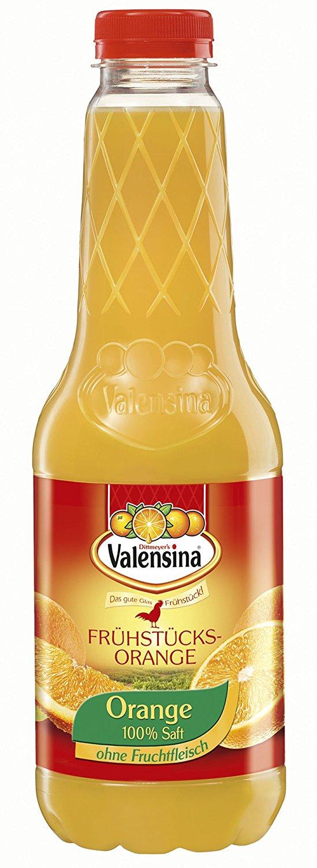 Amazon Plus Produkt Valensina Frühstücks-Orange 100% Fruchtgehalt, 6er Pack (6 x 1 l Flasche)im  Sparabo für 5,02€