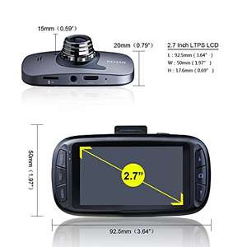 "Kehan C819N Dash Cam Full HD 1080P GPS Logger mit 150 Grad Weitwinkel 2.7"" DIsplay Sony IMX323 Sensor und SOS Taste"