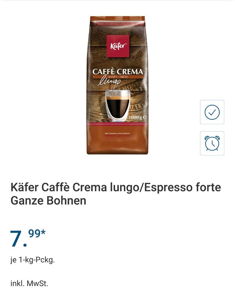 [Lidl offline] Käfer Caffè Crema lungo oder Espresso forte ganze Bohnen 1 kg
