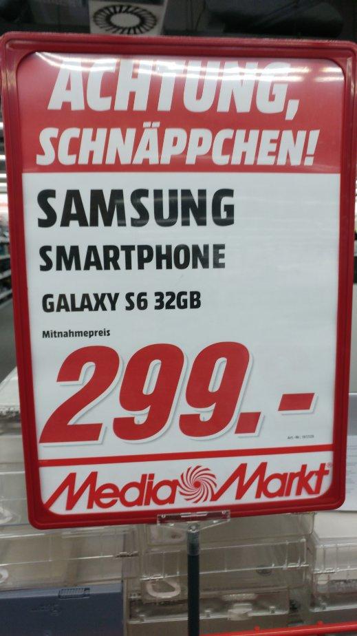 (Lokal) Samsung Galaxy S6 32GB 299€ Mediamarkt Berlin Hohenschönhausen und Steglitz