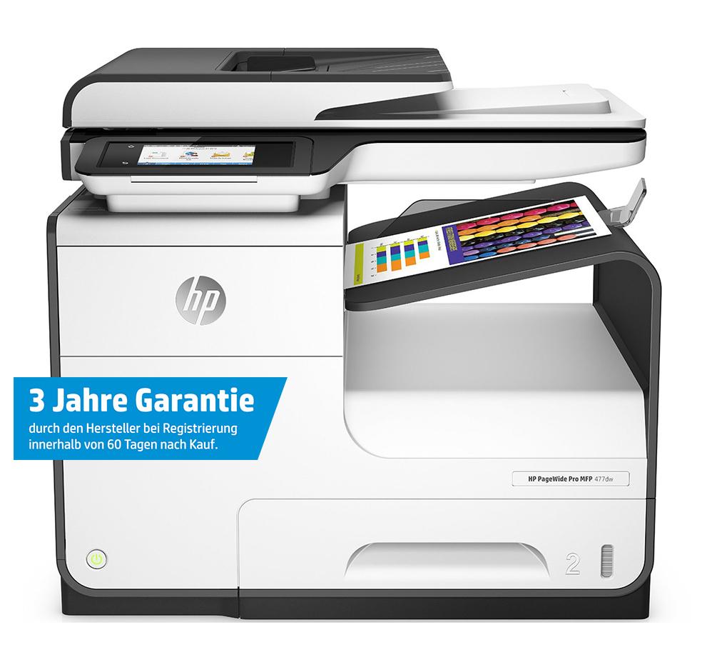 office-partner.de HP Pagewide 477dw Tintenstrahl-Multifunktionsgerät mit Gutschein für 299,90 (ca. 18% Ersparnis