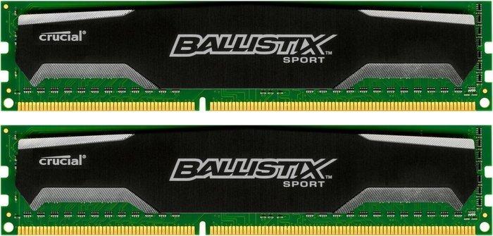 Crucial Ballistix Sport DIMM Kit 16GB (2x 8GB) DDR3-1600 für 62,07€ [Amazon.fr]