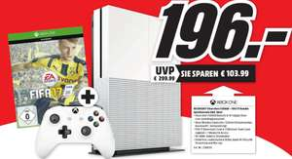 [Lokal Mediamarkt Gründau-Lieblos NUR am 28.11] Xbox One S 500GB + FIFA 17 für 196,-€