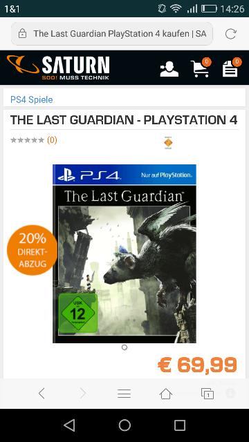 The Last Guardian(Ps4) Vorbestellung für 55,99€ @ Saturn (Vorbei)