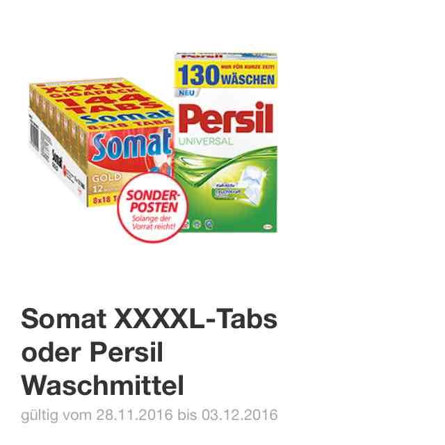 Somat XXXXL Tabs oder Persil Waschmittel für 18,99€