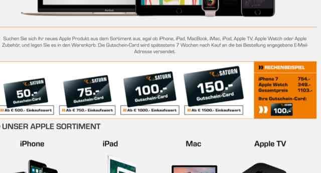 Saturn Gutscheincard bis 150€ bei Kauf von Apple Produkten