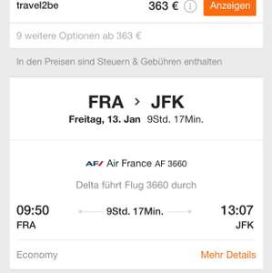 Non-stop from Frankfurt to New York for €365!