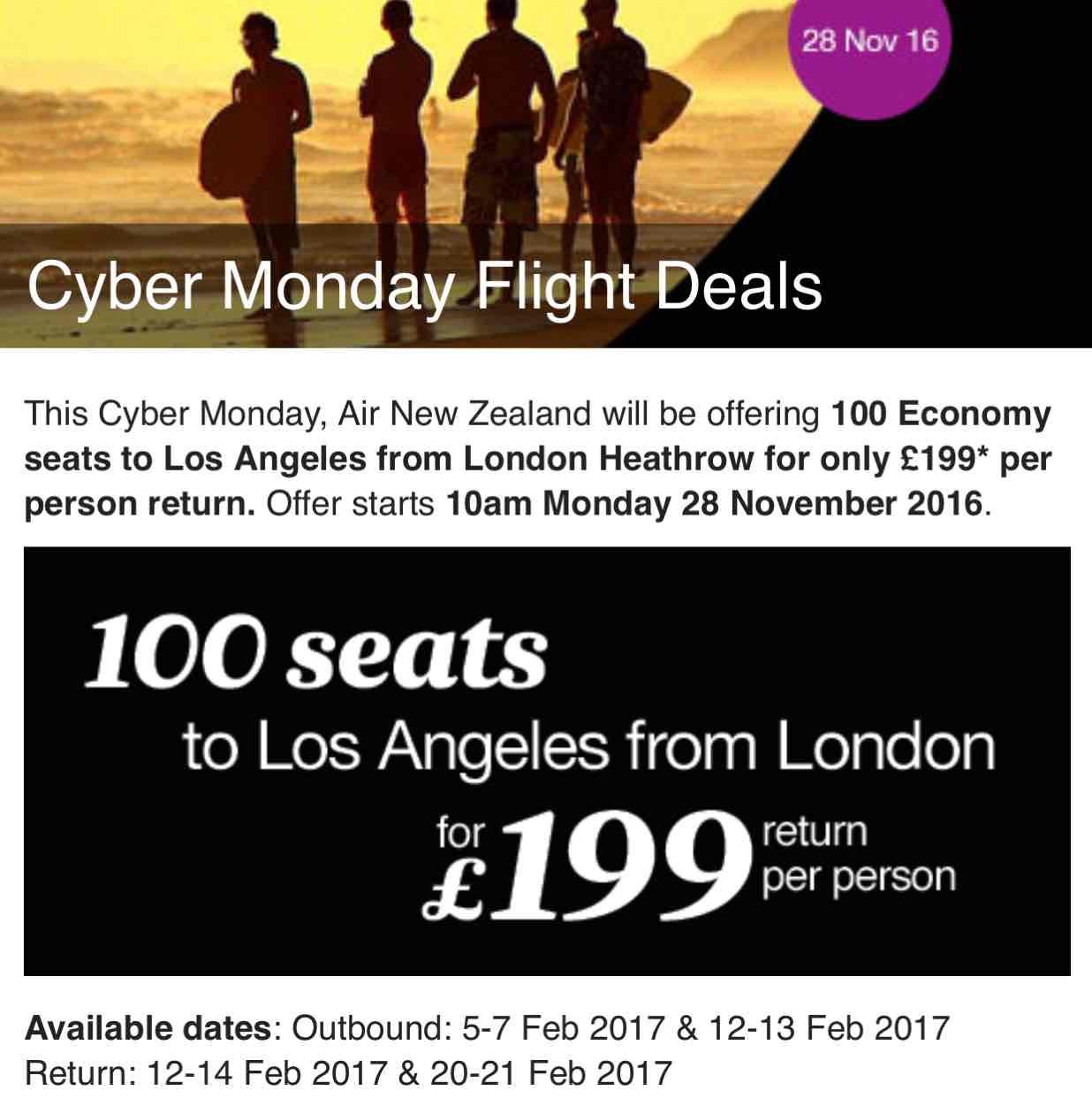 Cyber Monday: London – Los Angeles für 199£ mit Air New Zealand