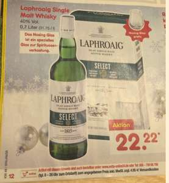 [Netto Osnabrück] Laphroaig Select Islay Single Malt Scotch Whisky (1 x 0.7 l) inkl. Nosing Glas GATIS für 20 Euro, ab Mo. 28.11