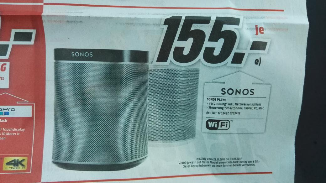 Sonos Play 1 (Lokal Mediamarkt Köln Kalk am 28.11.2016)