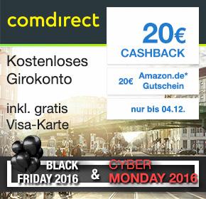 Comdirect Girokonto inkl. VISA mit 25€ Amazon-Gutschein und 20€ Cashback via Shoop.de