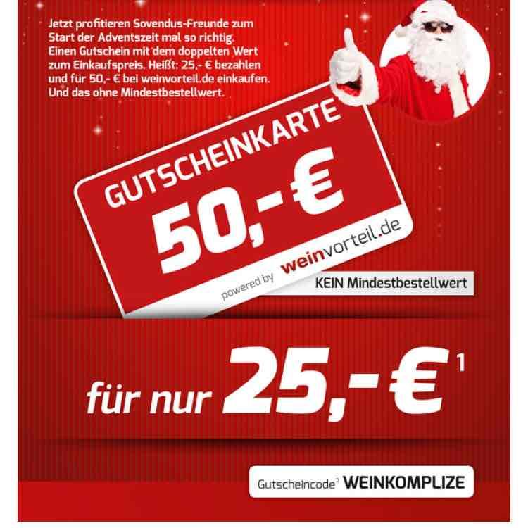 Gutschein bei Weinvorteil für 50€ und 25€ bezahlen