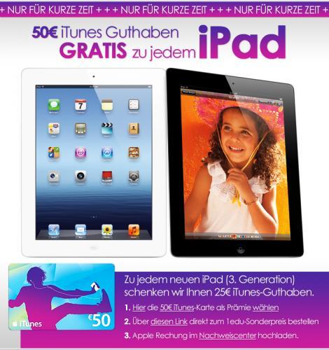 Das neue iPad ab 429€ durch gratis 50€ iTunes-Guthaben