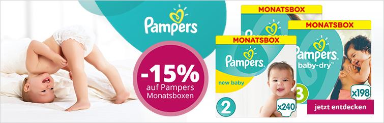 windeln.de 15% auf Pampers-Monatsboxen kombinierbar mit 3 Euro Coupon und Sparplan