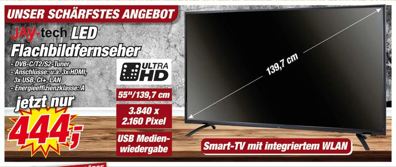 """Ultra HD-LED-Smart-TV, 55"""", Jay-Tech bei der Postenbörse."""
