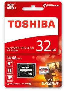 Toshiba Micro SDHC Karte 32GB Speicherkarte Class 10 inkl. SDHC SD Card Adapter