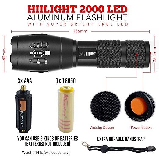 HIILIGHT LED Taschenlampe 2000 CREE XM-L T6 schwarz für nur 15,90 EUR im Cyberdeal