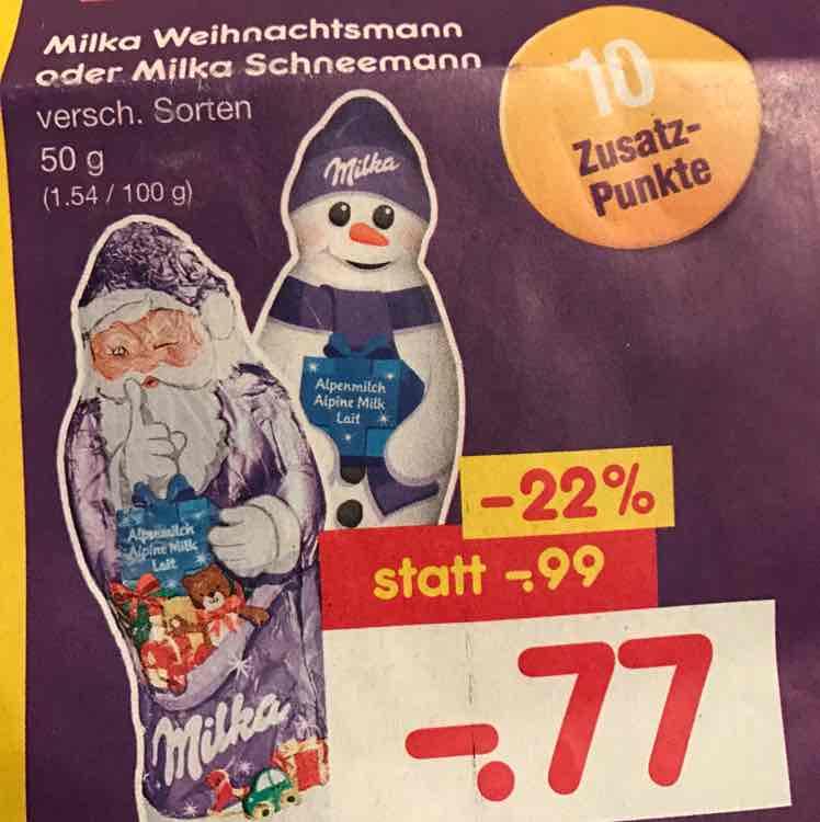 Schnee- oder Weihnachtsmann von Milka bei Netto für 77 Cent