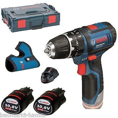 Bosch Professional GSB 10,8-2 Akku-Schlagbohrschrauber + 2x 2Ah Akku + Schnellladegerät + L-Boxx + Holster