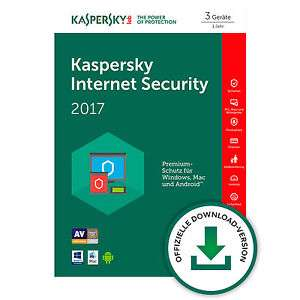Kaspersky Internet Security 2017 - 3 Geräte/1 Jahr Vollversion - Win/Mac/Android - 43,63% ggü. Idealo