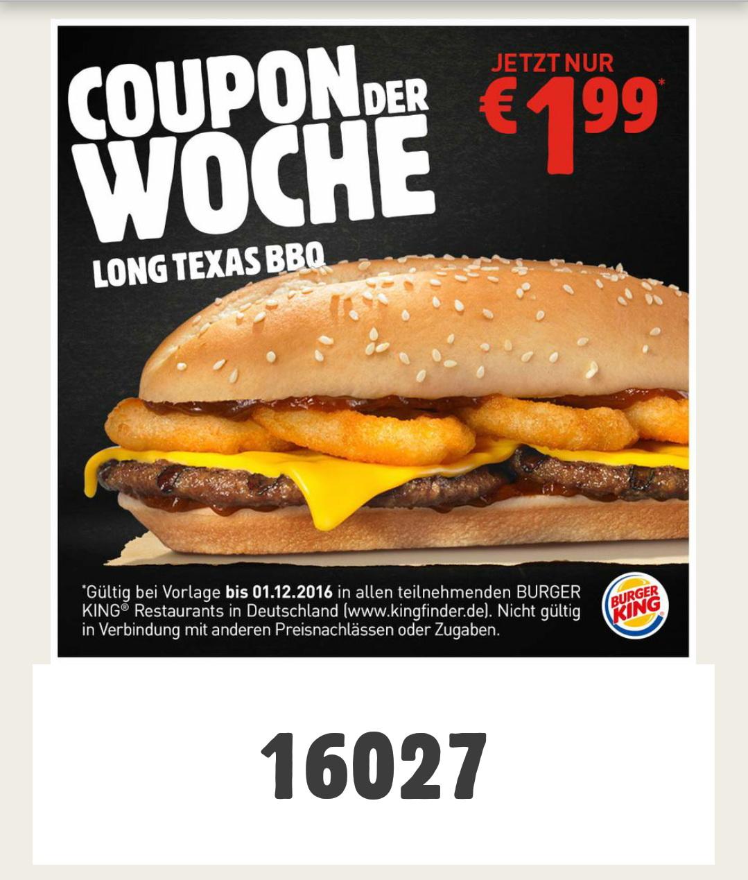 [Burger King App] Long Texas BBQ für 1,99€