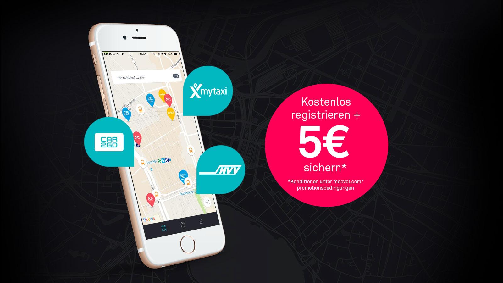 Moovel: 5€ Guthaben bei Registrierung. Auf Fahrkarten und Carsharing anwendbar.