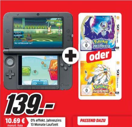 [Mediamarkt) Nintendo 3DS XL silber-schwarz + Pokemon Mond ODER Pokemon Sonne für 139,-€**Aktion Online**
