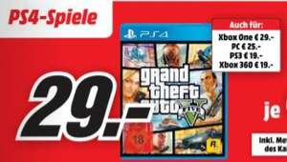[Mediamarkt) GTA 5 / Grand Theft Auto V (Playstation 4 und Xbox One) für je 29,-€** Bei Abholung**Aktion Online