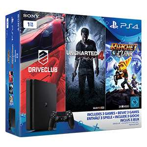Sony Playstation 4 / PS4 1TB Slim inkl. Uncharted 4, Driveclub und Ratchet & Clank - in den real Märkten Chance auf 242,19 € durch 19% Sonderrabatt (Personalkauf)