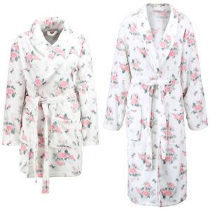ANNA FIELD Damen Bademantel weiß kurz oder lang Blumenprint Schalkragen
