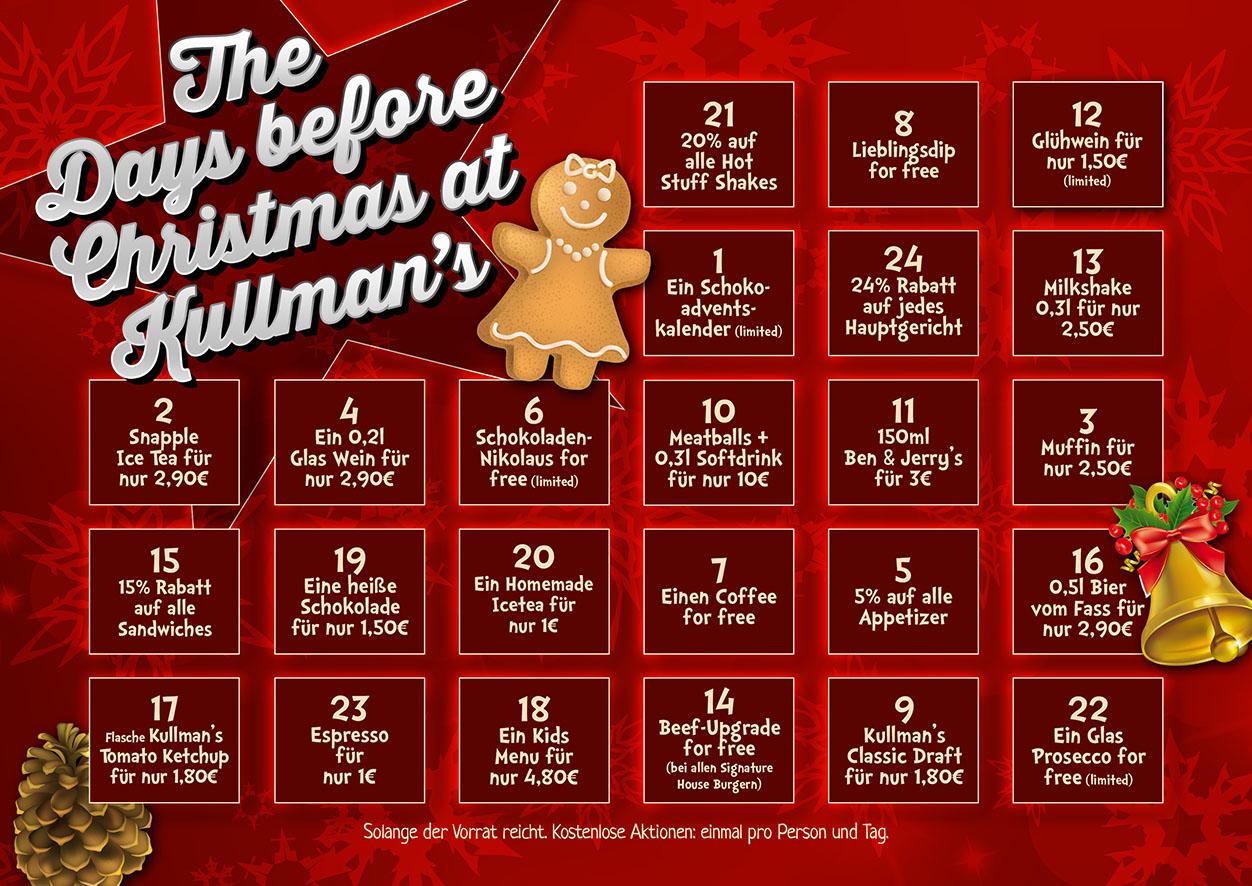 Diverse Vergünstigungen bei Kullman's Diner durch Adventskalender
