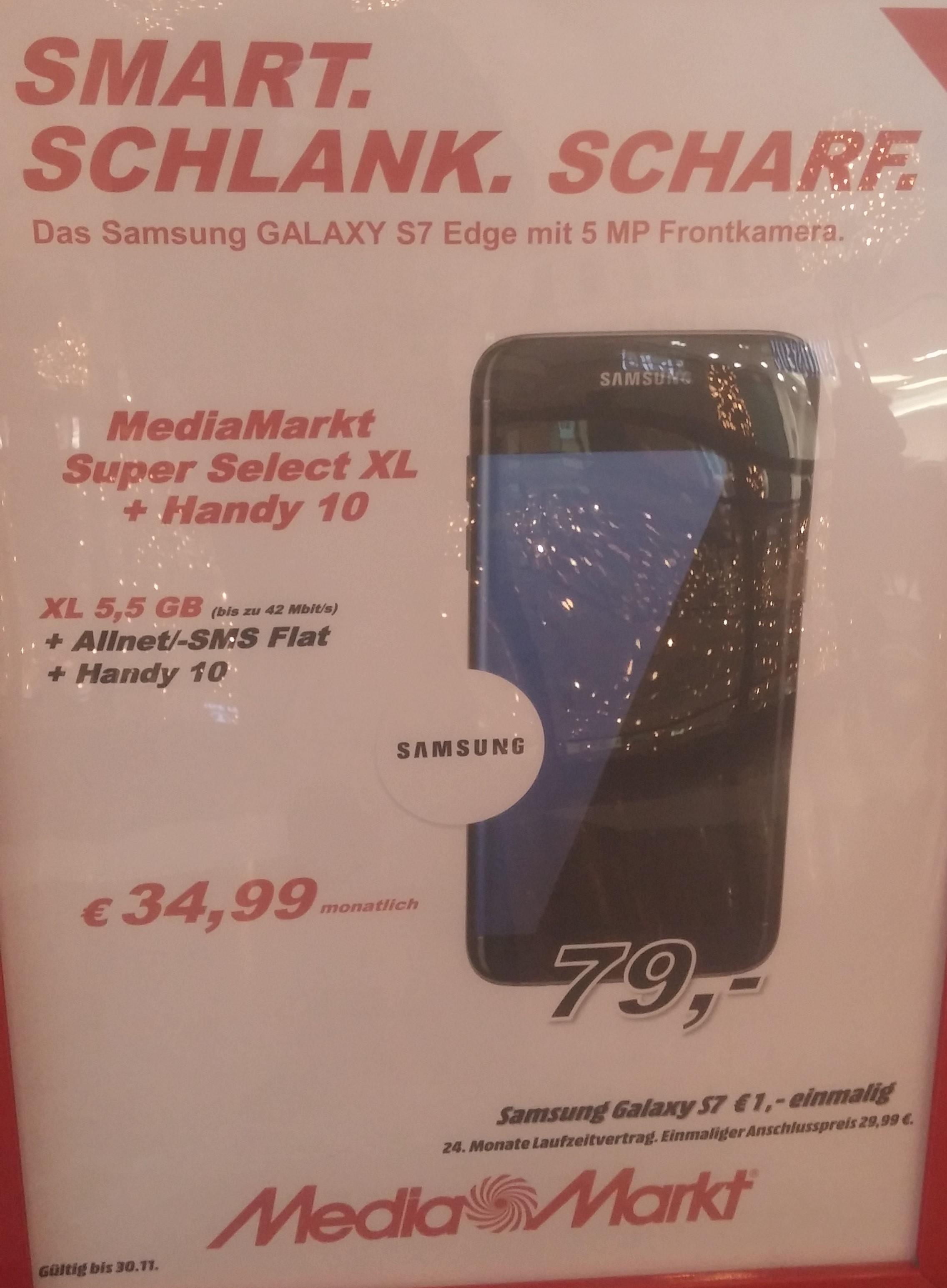 Samsung Galaxy S7 Edge mit 5,5GB LTE AllNet/SMS Flat für 34,99€