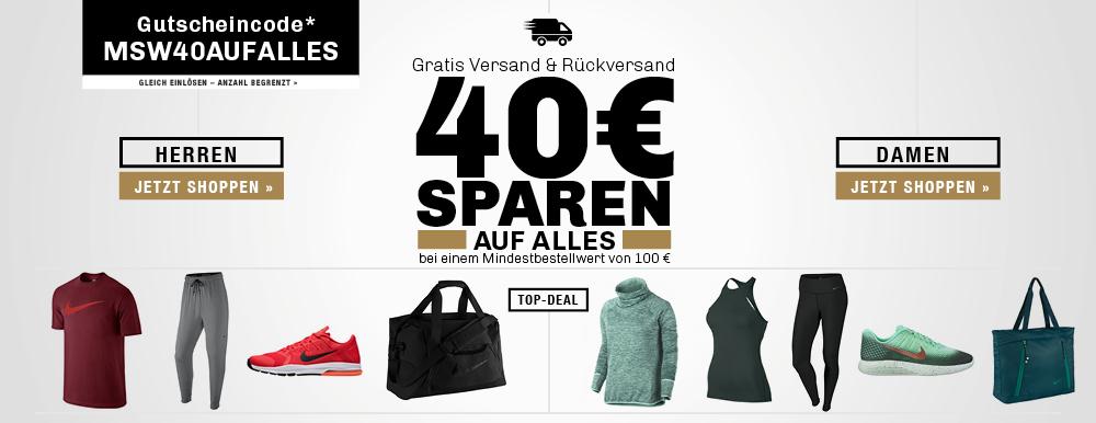 40 € Gutschein bei der [my-sportswear.de] auf das komplette Sortiment. Versandkostenfrei! MBW liegt bei 100 €