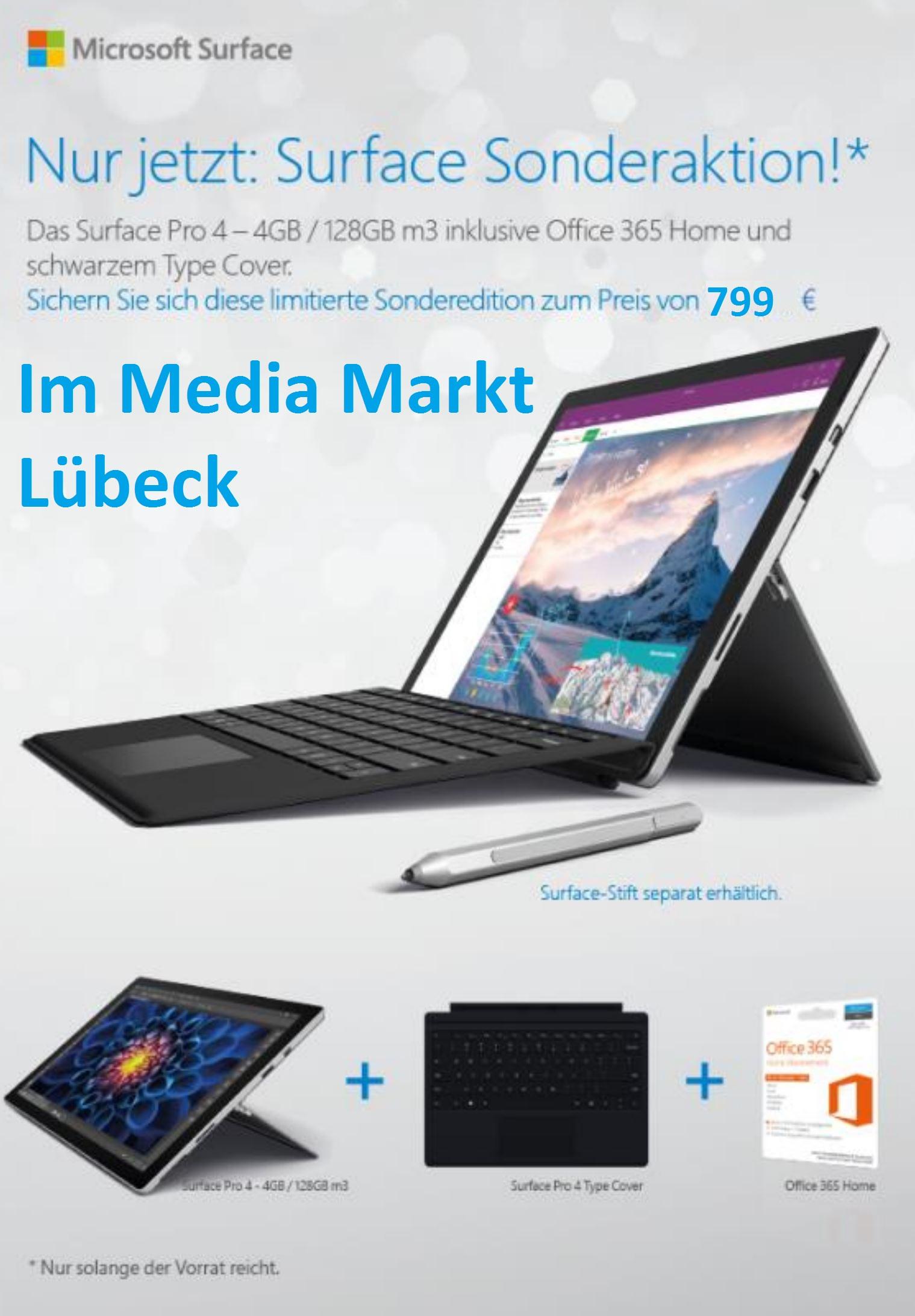AB 1.12. Surface Pro 4 m3 für 779,- mit schwarzem Type Cover + Office 365 Home MediaMarkt Lübeck