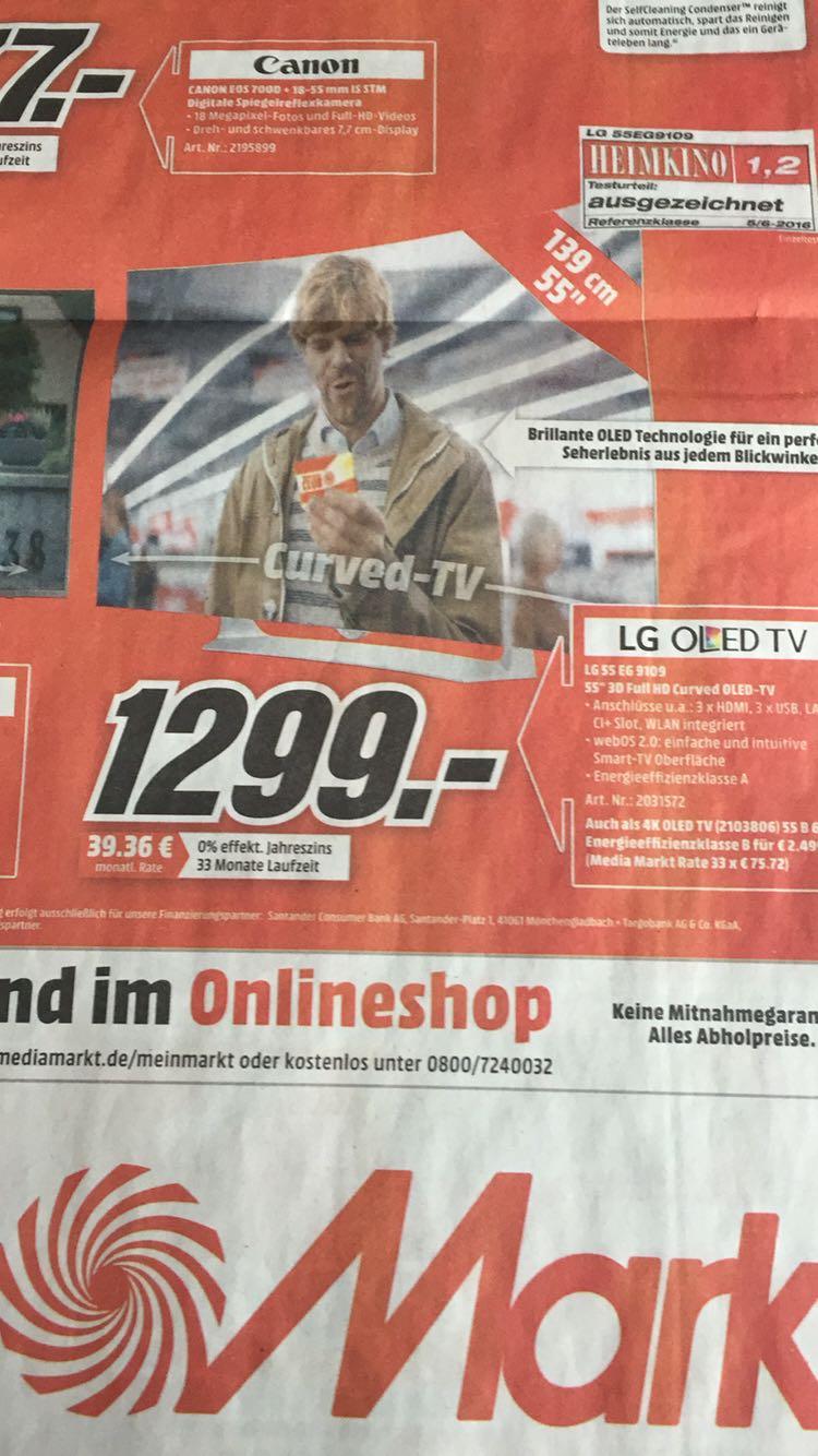 LG 55EG9109 OLED TV deutsches Modell (Curved, 55 Zoll, Full-HD, 3D, SMART TV, web OS) (Mediamarkt Nordhorn) für 1299€inkl VSK *UPDATE*