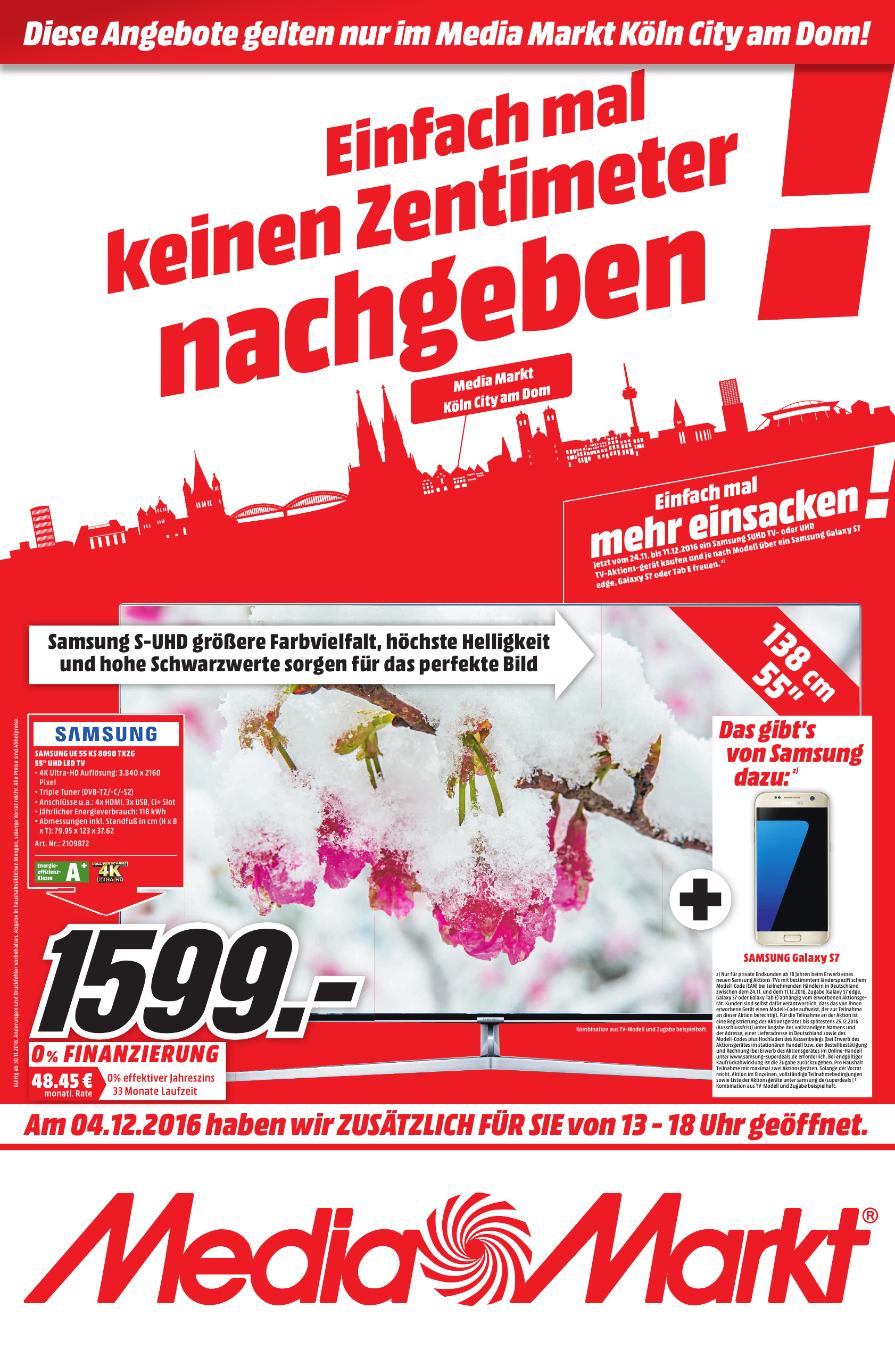 [Lokal Media Markt Köln City Dom] Samsung UE55KS8090 + Galaxy S7