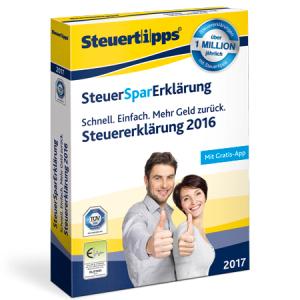 SteuerSparErklärung 2017 für 19,95 € als Download oder als DVD (inkl. Versand) im Spar-Abo (jederzeit kündbar)@Steuertipps.de