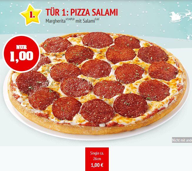 Call a Pizza Adventskalender: Pizza Salami für 1 €